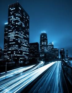 Futuristic Urban City with Freeway Traffic, Down Town Los Angele