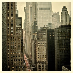 Rush hour on 42nd Street in New York City with Instagram effect
