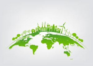 A graphical representation of a greener global environment due to Siemens Building Technologies.